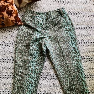 Vintage NWT Boho Animal Print Green Ankle Pant